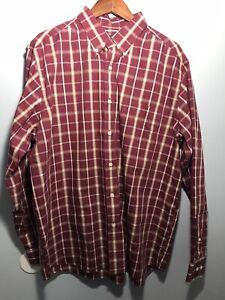 Eddie Bauer Mens XL Cotton Dress Wrinkle Resistant Relax Fit Plaid Shirt NWT L91