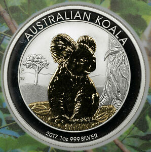 2017 AUSTRALIAN KOALA $1 PARTIAL GOLD PLATED EDITION CHOICE PROOF SILVER 28/1000