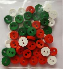 60 Mini Micro Pulsanti di Natale 6mm colori assortiti Bambole Rosso Verde Bianco