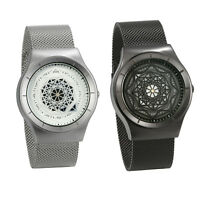 Men's Unique Stainless Steel Mesh Band Geometric Dial Quartz Analog Wrist Watch
