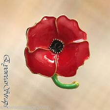 NEW Poppy Brooch Four Petal Red Enameled Gold Tone Pin Remembrance Day UK