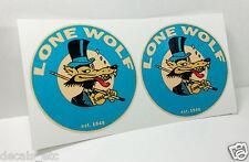 "Pair 3"" LONE WOLF Vintage Style DECAL, Vinyl STICKER, rat rod, racing, hot rod"