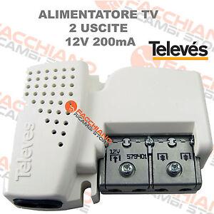 ALIMENTATORE PER ANTENNA AMPLIFICATORE TV DIGITALE TERRESTRE 2 USCITE 12V 200mA