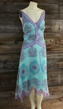 Nicole Miller Handkerchief Hem Abstract Paisley Silk Dress Size 14