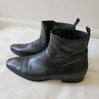 BOSS by Hugo Boss Ankle Boots Size 10 Mens Black Leather Zipper