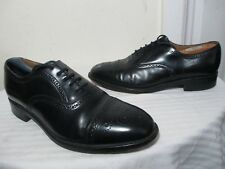 LOAKE 201B MEN'S BLK POLISHED BROGUE LEATHER LACE UP SHOES 8½ MADE IN ENGLAND