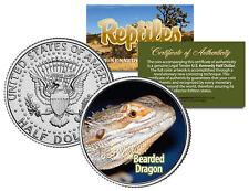 BEARDED DRAGON * Collectible Reptiles * JFK Half Dollar U.S. Coin POGONA LIZARD