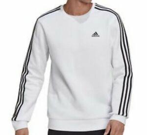 NWT Mens Adidas Crewneck Sweatshirt Pullover 3 stripes Polyester White