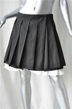 ANNA MOLINARI Black+White Pleated Mini School Skirt 40