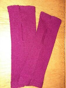100% cashmere wristwarmers fingerless gloves colour berry wine hand made