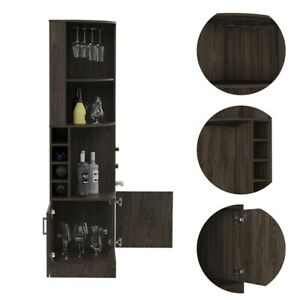 Tuhome Furniture Syrah Corner Bar and Wine Cabinet in Weathered Oak
