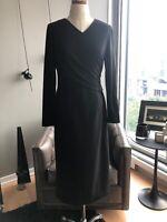 New Black Lafayette 148 New York V-Neck Jersey Dress Size 6 MSRP $548