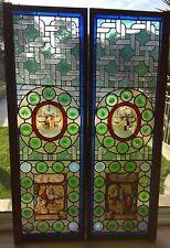 Ensemble de deux grand Verrieres en vitrail polychrome,decor heraldique1655-1659