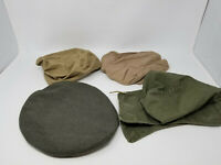 Vintage Collection of Gray Tan Olive Soft Side Military Army Caps and Hood