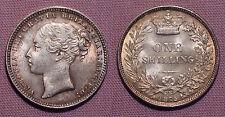 1875 QUEEN VICTORIA YOUNG HEAD SHILLING - High Grade Die No 22
