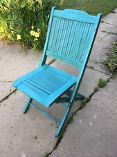VINTAGE WOODEN SLATTED DECK FOLDING CHAIR BLUE-GREEN WASH PORCH PATIO LODGE