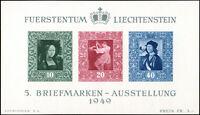LIECHTENSTEIN 1949, Block 5, tadellos postfrisch, Mi. 170,-