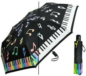 Color Changing Umbrella PIANO Super Mini 44 Inch Auto Open Rain Sun w/ Case