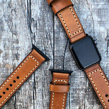 For Apple Watch iwatch SE 6 44mm Genuine Orange Leather Replacement Strap Brand