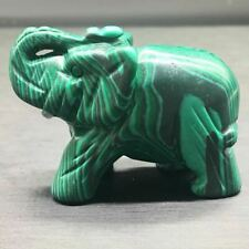 Malachite Sculpture Elephant Claybank Bowlder Trimming Jade Green Pattern