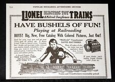 1919 OLD MAGAZINE PRINT AD, LIONEL ELECTRIC TOY TRAINS, HAVE BUSHELS OF FUN!