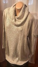 Belldini Sequin Sparkle Sweater Cowl Neck OatmealSilver Tunic Sz L Anthropologie