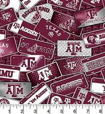 Texas A&M Aggies Ncaa License Plate Cotton Fabric-Tam-1210-$9.49/yd