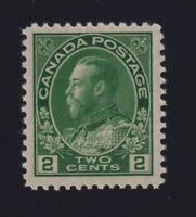 Canada Sc #107e (1923) 2c green Admiral Dry Printing Mint VF NH