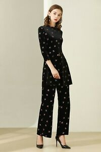 wholesale runway new Crew neck Long sleeves Print Button Pocket Pants suit