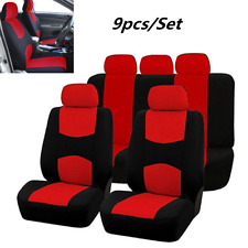 9 PCS Set Car Seat Covers Red Full Set Universal For Autos Front+Rear 5 Sits New