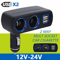 12V Car Cigarette Lighter Socket Adapter Double Plug Splitter Dual USB Charger
