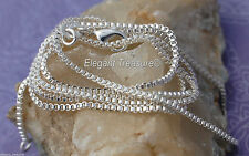 1mm BOX Chain Necklace 925 Sterling Silver Jewelry 16 18 20 22 24 26 28 30 inch