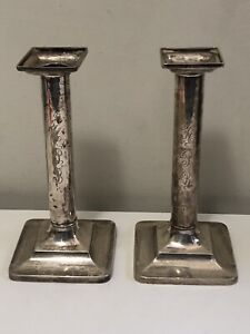 """Pair Tiffany & Co Makers Sterling Silver 7.75"""" Candlesticks 15893 3677 Set .925"""