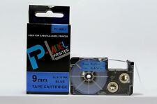Compatible Casio XR-9BU Black on Blue 9mm 8m Label Tape KL-100 KL-2000 XR-9BU1