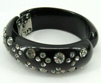 Vintage Black Weiss thermoplastic Rhinestone Hinged Bangle Clamper Bracelet