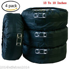 "4 Pcs Car Spare Tire Storage Protection Bag 16""-22"" Wheel Tyre Carry Tote Cover"