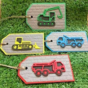 3D Digger Trucks Gift Tags Builder Construction Vehicles Birthday Girl Boys Toys