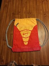 Nike Drawstring Backpack Cinch Sack, Gym Bag with zippered pouch - Red/Yellow