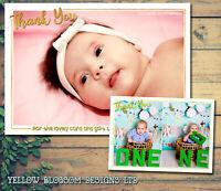 10 Personalised Thank You Cards Photo Christmas Birthday Christening Boy Girl