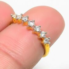 Tone Fine Rings Engagement Jewelry Gifts Natural Russian White Topaz Yellow Gold