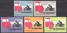 POLAND 1968 Matchbox Label - Cat.Z#896 set, Road safety - do not overtake!