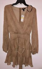 Women's Dress Material Girl Brown Animal Print Low V-Neck Layered Size M NWT
