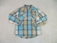 Levis Pearl Snap Button Up Shirt Adult Large Brown Blue Long Sleeve Western Men