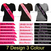 HEN PARTY SASHES HEN NIGHT PARTY DO BRIDE TO BE BRIDESMAID GIRLS NIGHT OUT MAID