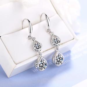 Pure 925 Double Stone Sterling Silver Rhinestone Crystal Drop Dangle Earrings MM