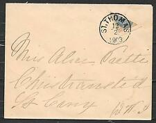 Danish West Indies covers 1903 YV 7A BISECTED cover St.Thomas -Christansted