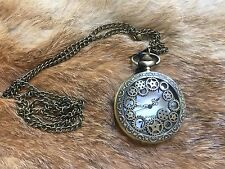 Brass Gear Steampunk Pocket Watch- Battery Mechanical Antique Gift