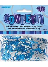 Glitz Blue 18th Birthday Party Tableware Decoration Plates Banners Candle Age 18 Table Confetti (0.5oz)