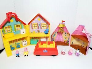 Peppa Pig House Playset, Glamping Tent, Talking Red Car & Figures LOT