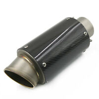 Universal 60mm Motorcycle Modified Exhaust Muffler Tip Pipe Carbon Fiber Short